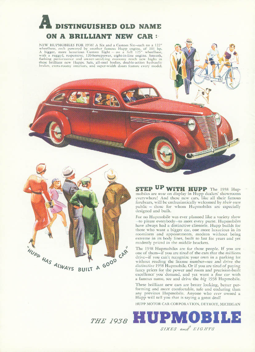 A Distinguished Old Name in a Brilliant New Car Hupmobile ad 1938 T