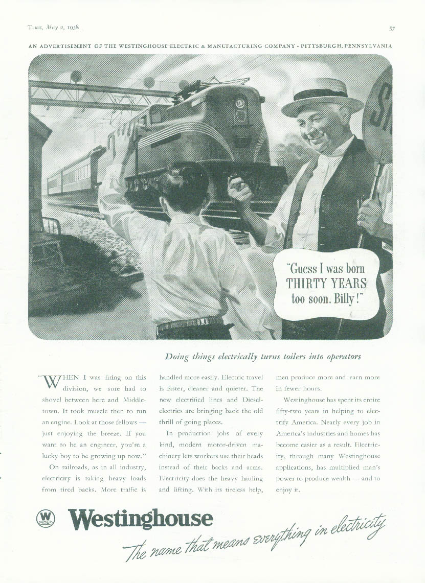 Guess I was born 30 years too soon Westinghouse Pennsylvania RR GG-1 ad 1938