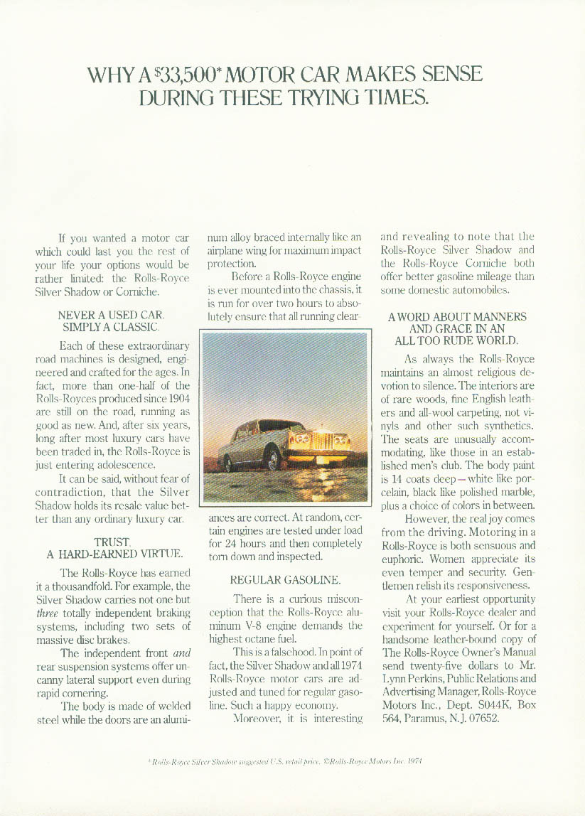 Image for Why a $33,500 Motor Car Makes Sense During These Times Rolls-Royce ad 1974 NY