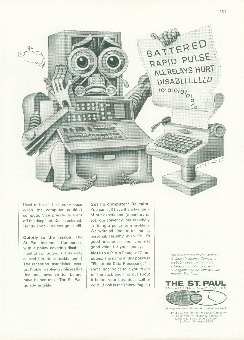 Battered Rapid Pulse Computer Crash St Paul Insurance ad 1967 Artzybasheff