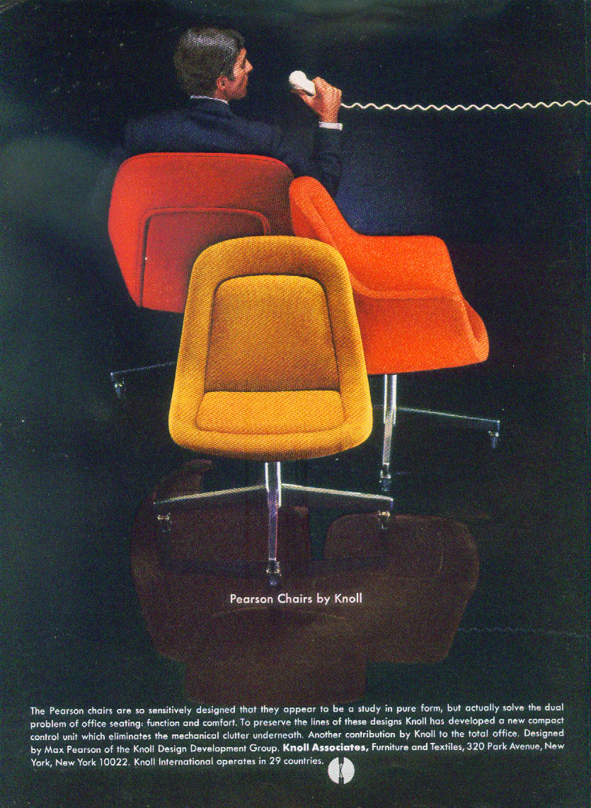 Max Pearson Chairs by Knoll Associates ad 1968 New Yorker