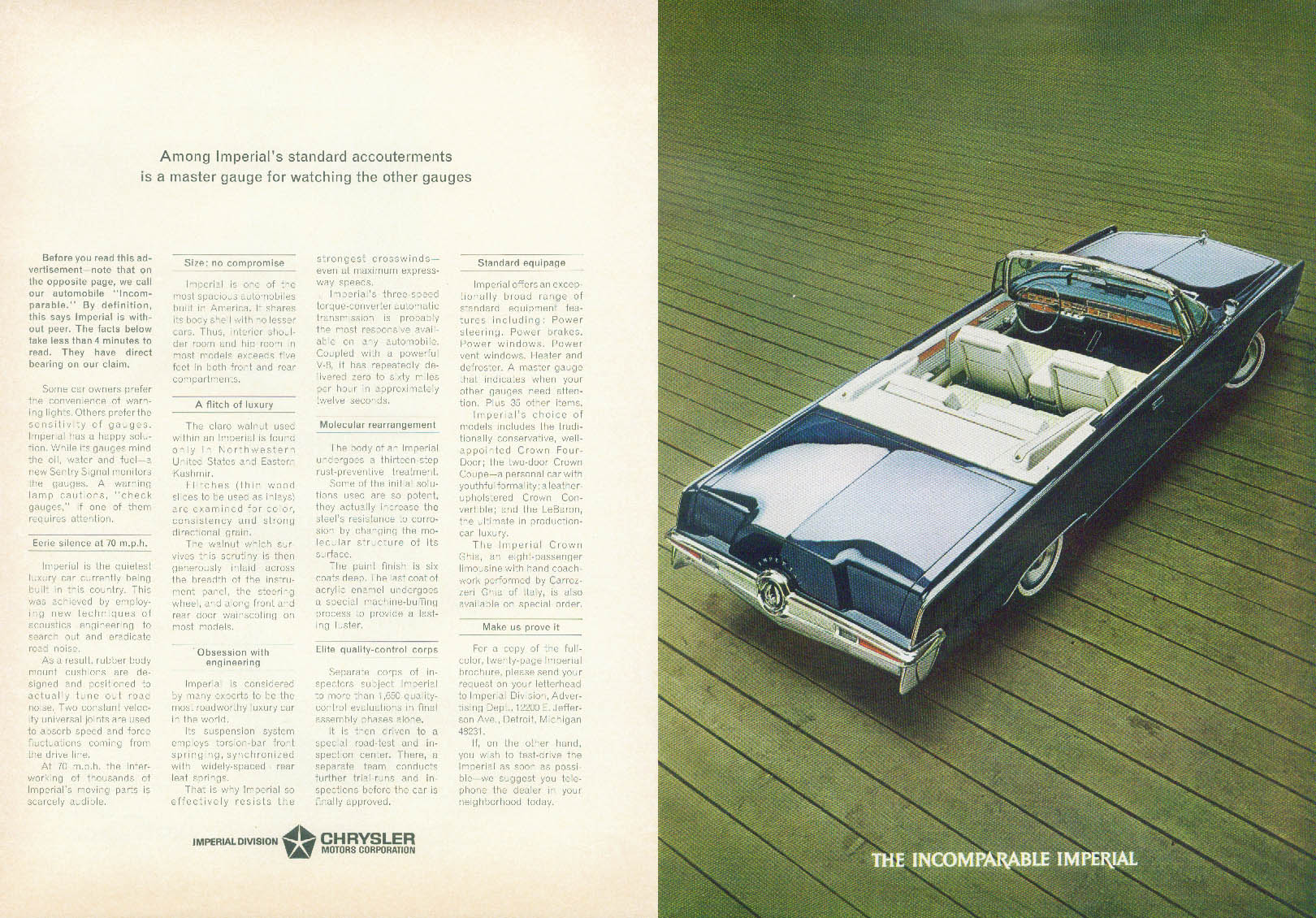 A master gauge for watching the others Imperial Convertible by Chrysler ad 1965