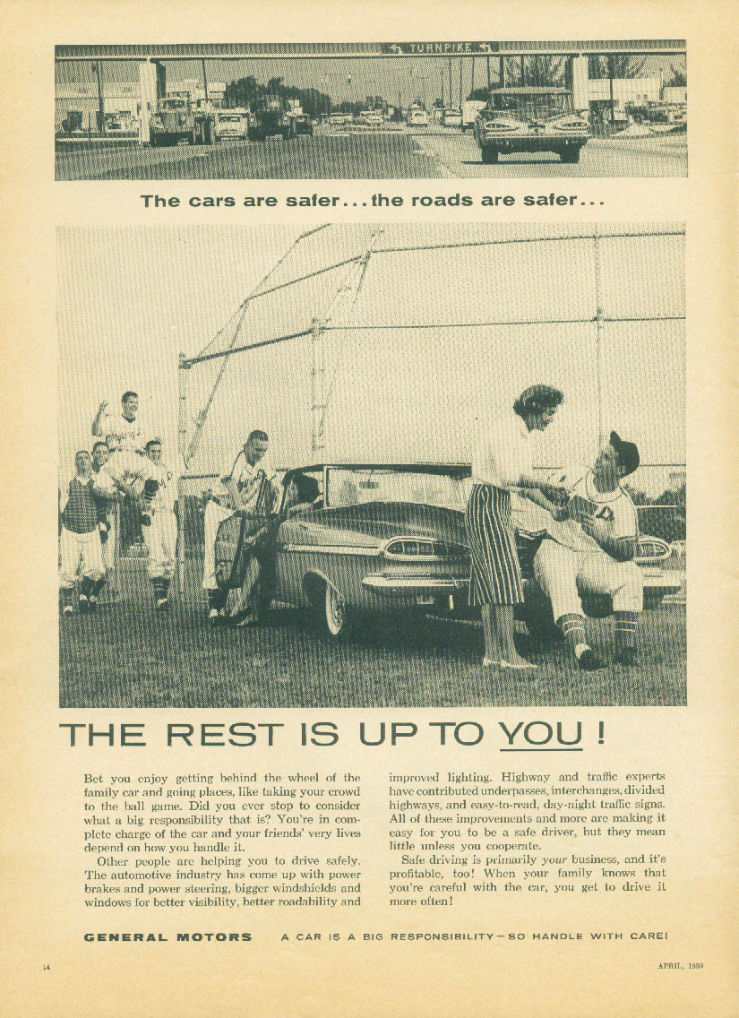 Cars are safer roads are safer The rest is Up to You Chevrolet GM ad 1959 AG