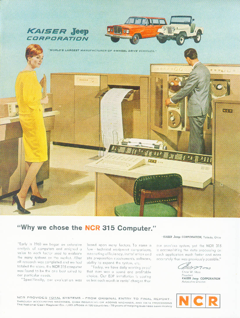 Image for Kaiser Jeep Corporation chose the NCR 315 Computer ad 1963
