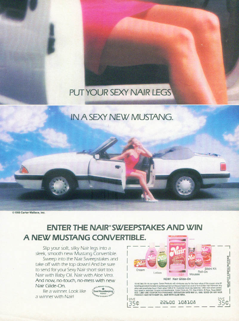 Put your sexy Nair legs in a sexy new Mustang Sweepstakes ad 1988