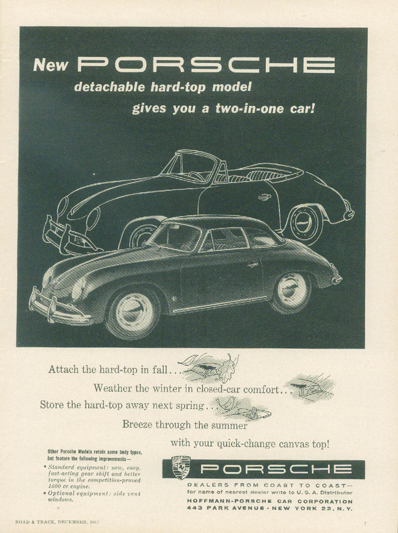 Image for New detachable hard-top model gives you a two-in-one car Porsche ad 1958