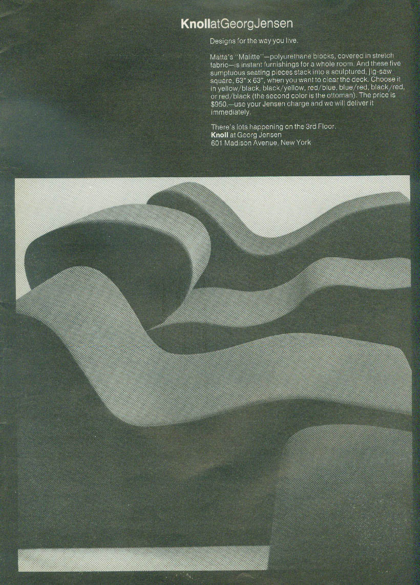 Designs for the way you live Knoll At Georg Jensen Matta Malitte Chair ad 1972