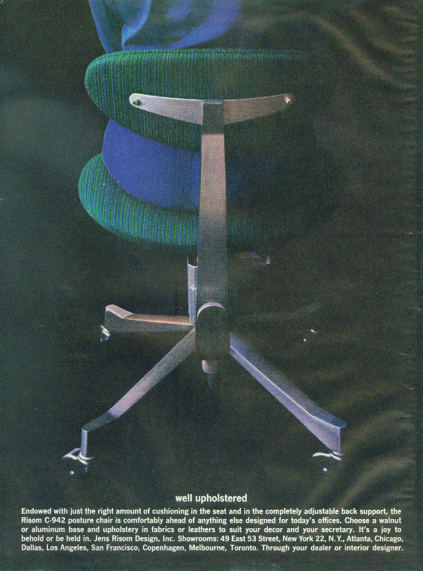 Well upholstered Risom C-942 Posture Chair Jens Risom Design ad 1961