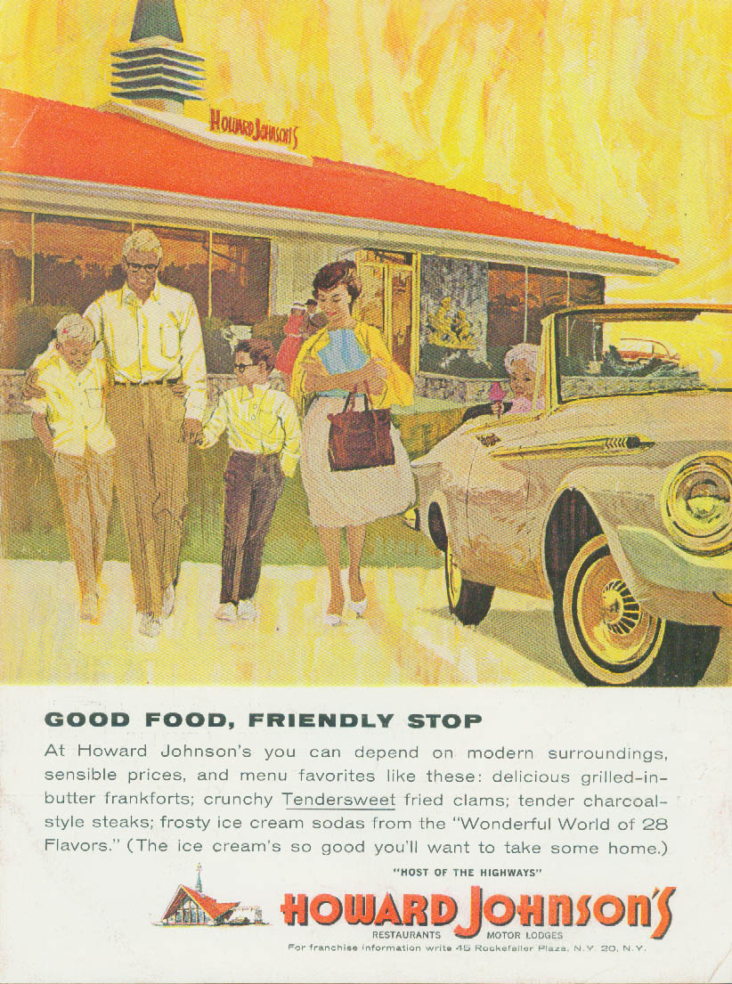 Image for Good Food Friendly Stop Howard Johnson's Restaurant ad 1963
