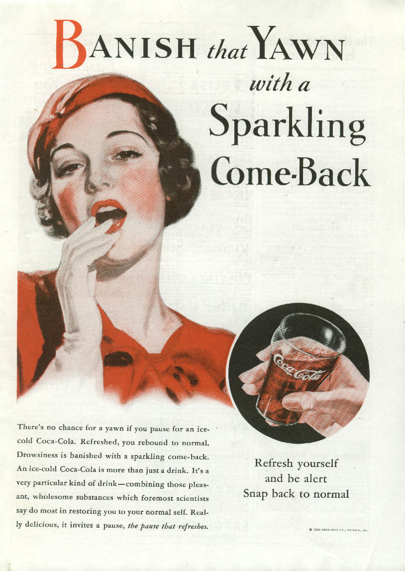 Banish the Yawn with a Sparkling Come-back Coca-Cola ad 1933 Am