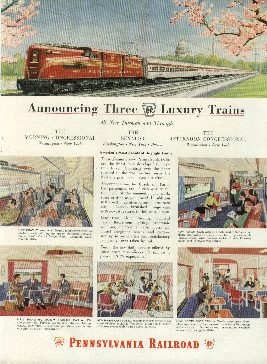 Image for Announcing Three Luxury Trains Pennsylvania RR Congressional Senator ad 1952