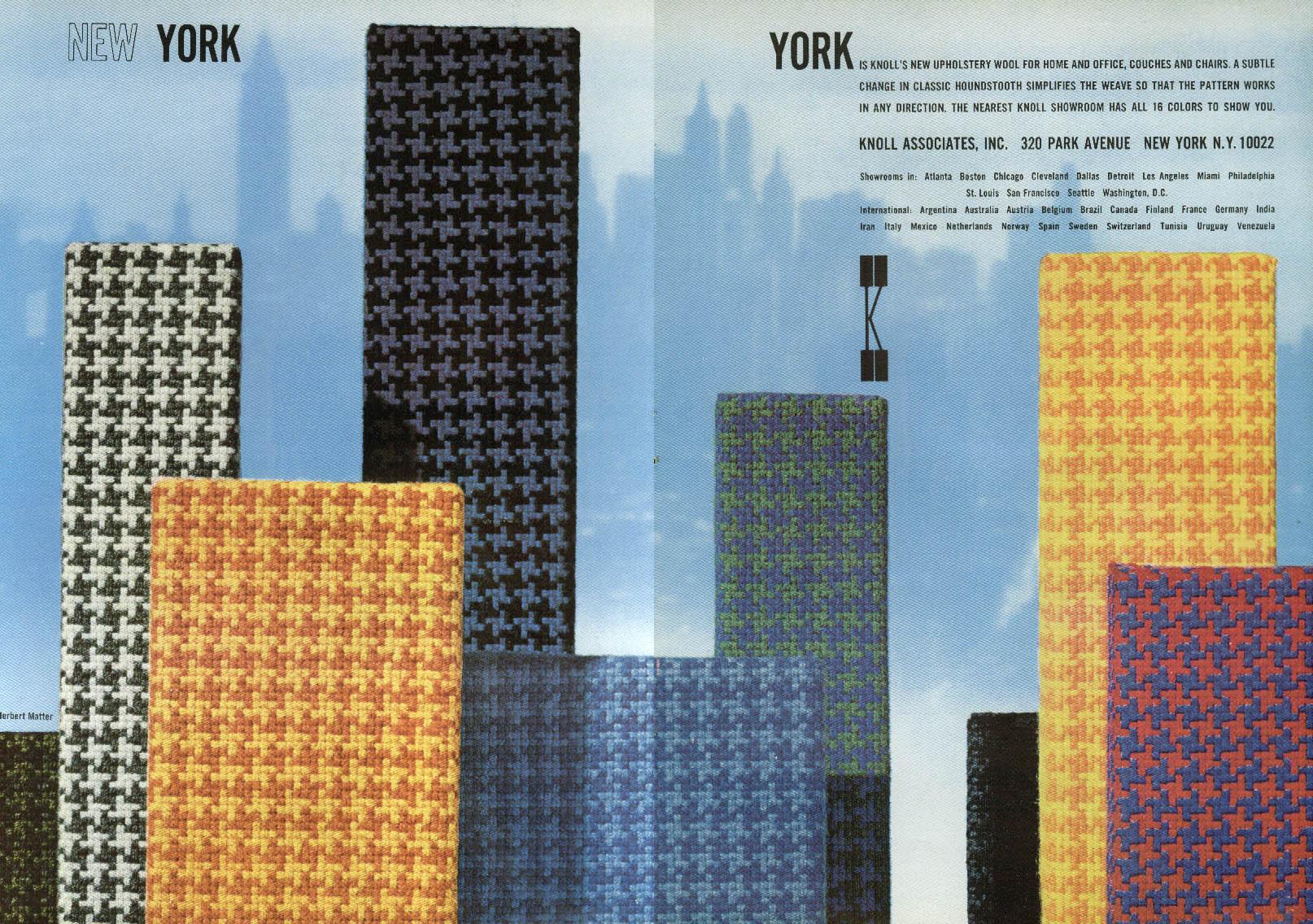 New York Upholstery Fabric Knoll Associates ad 1965 Herbert Matter design