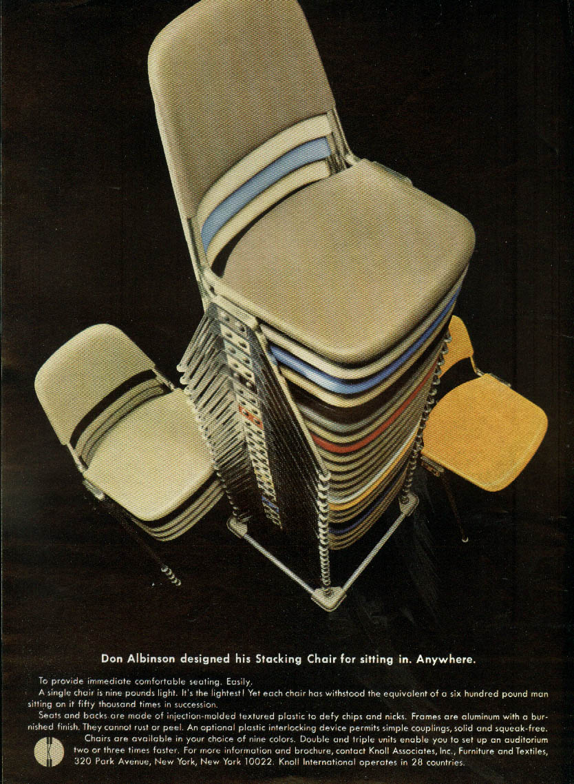 Don Albinson designed his Stacking Chair for sitting Knoll Associates ad 1967