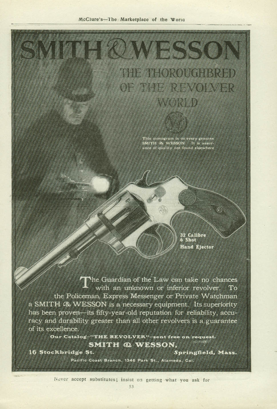.32 Calibre 6 shot Smith & Wesson The Thoroughbred of the Revolver World ad 1907