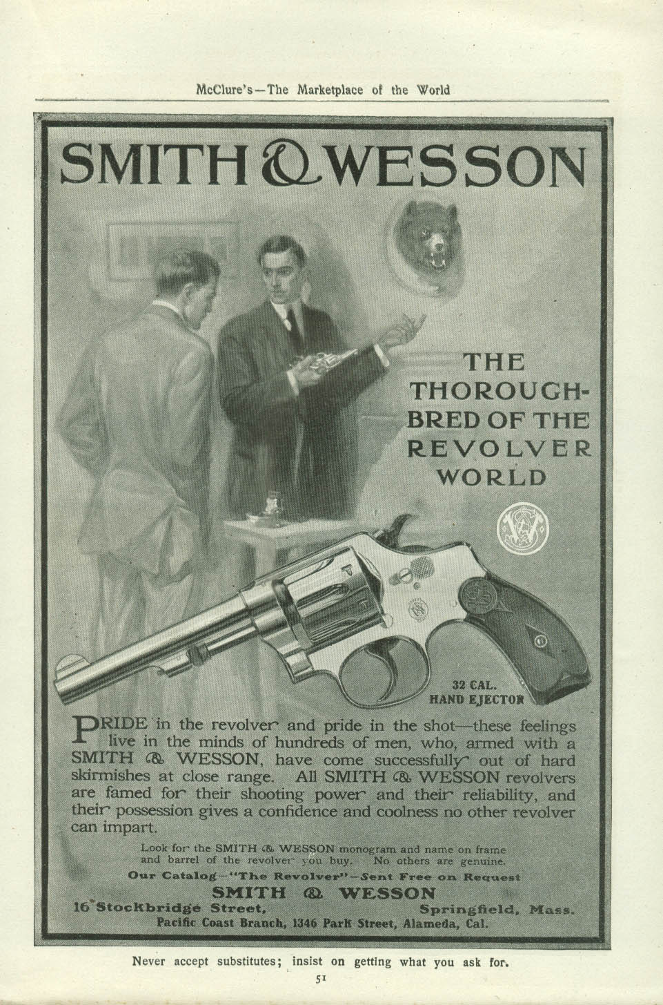 32 Cal hand Ejector Smith & Wesson Thoroughbred of the Revolver World ad 1907