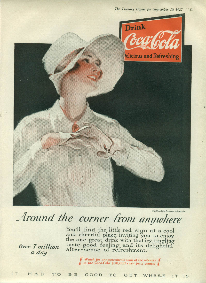 Around the corner from anywhere Coca-Cola ad 1927 pretty girl in gloves