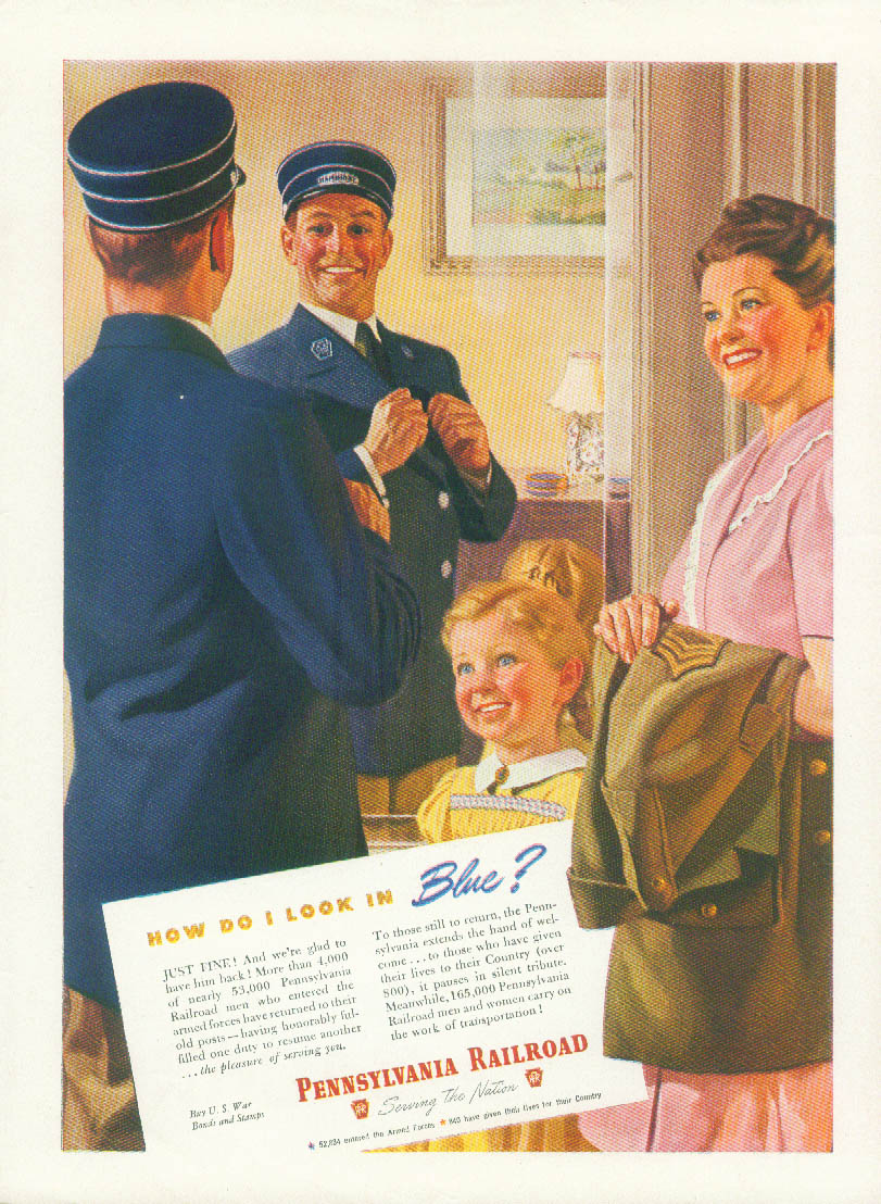 Image for How do I look in Blue? Pennsylvania Railroad conductor ad 1945