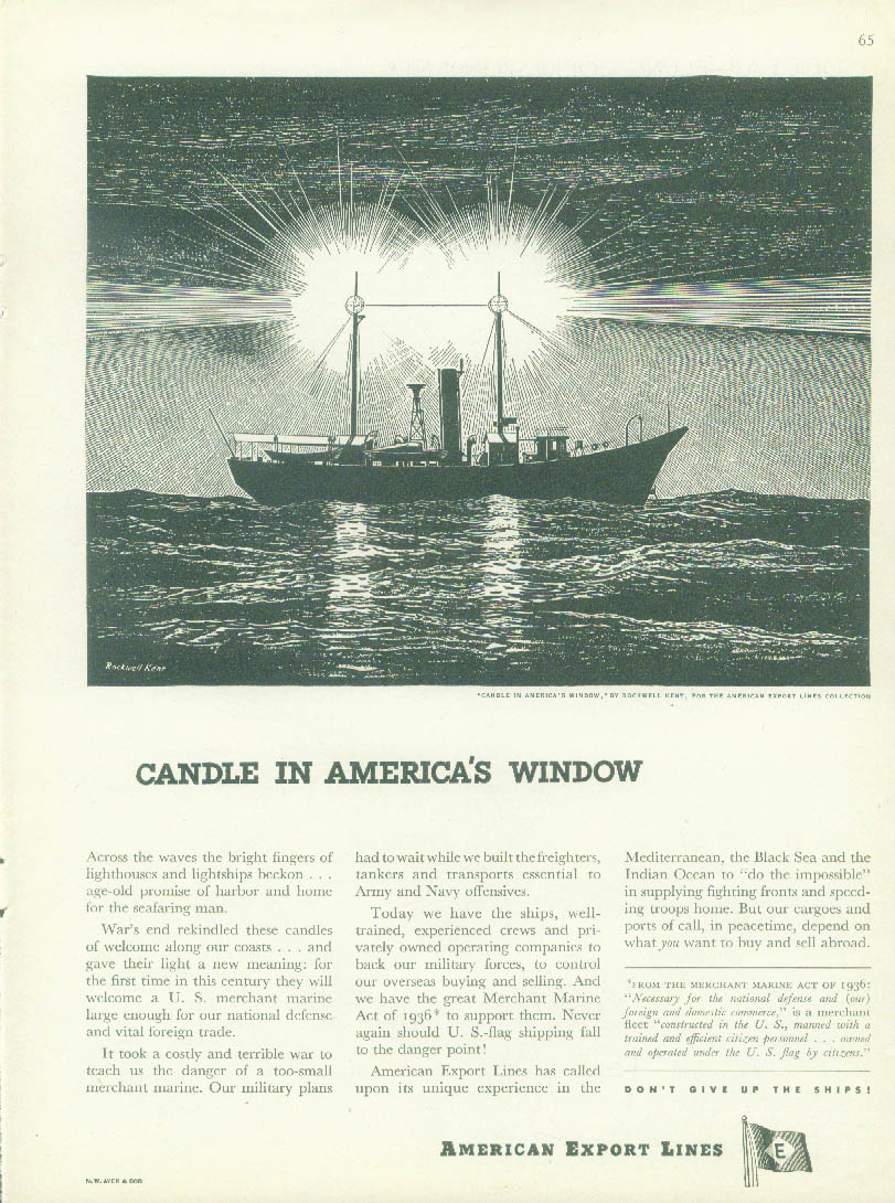 Candle in America's Window American Export Lines ad 1945 Rockwell Kent