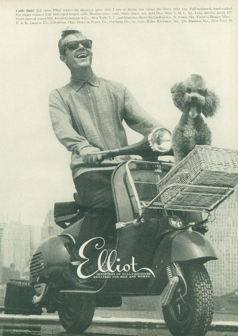 Cable Italy! Elliot Sweaters for Men ad 1958 Vespa motorscooter & poodle