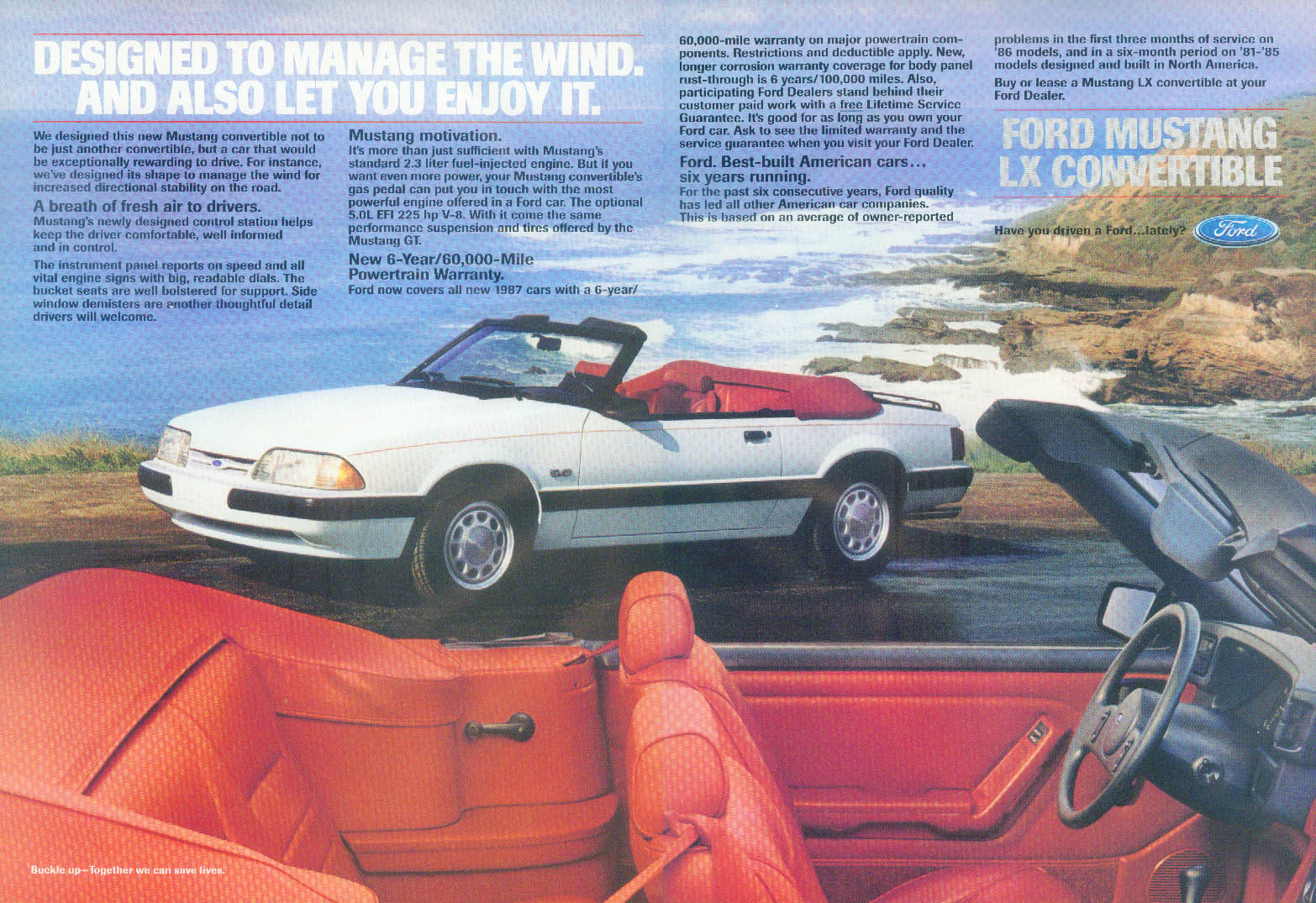 Designed to manage the wind Ford Mustang LX Convertible ad 1987