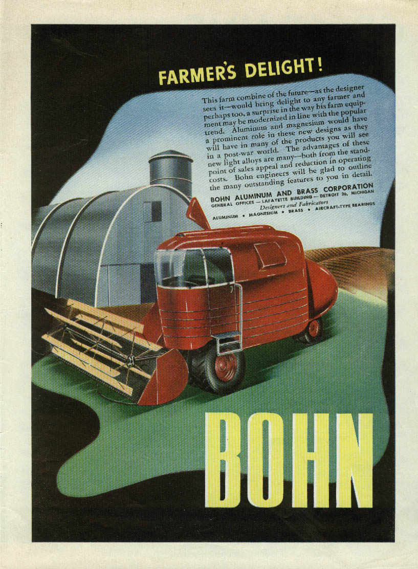 Image for Farmer's Delight! Futuristic farm combine Bohn Brass ad 1946