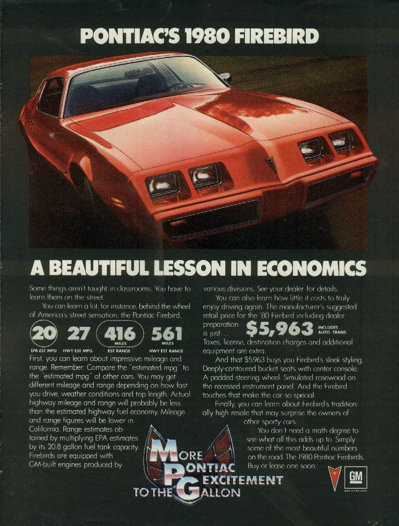 A beautiful lesson in economics Pontiac Firebird ad 1980