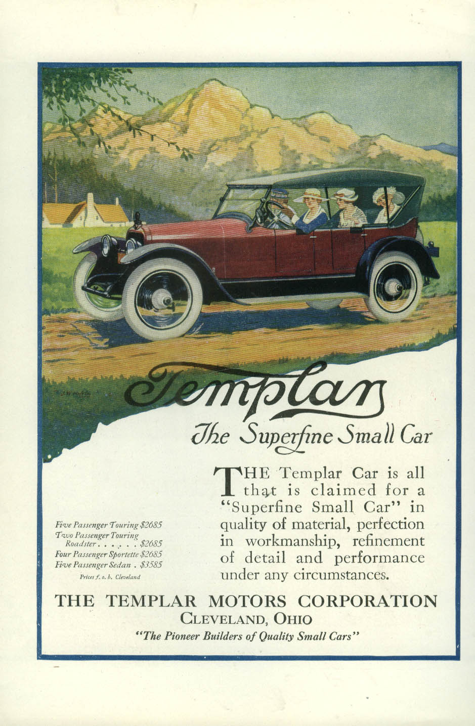 All that is claimed for Templar The Superfine Small Car ad 1920