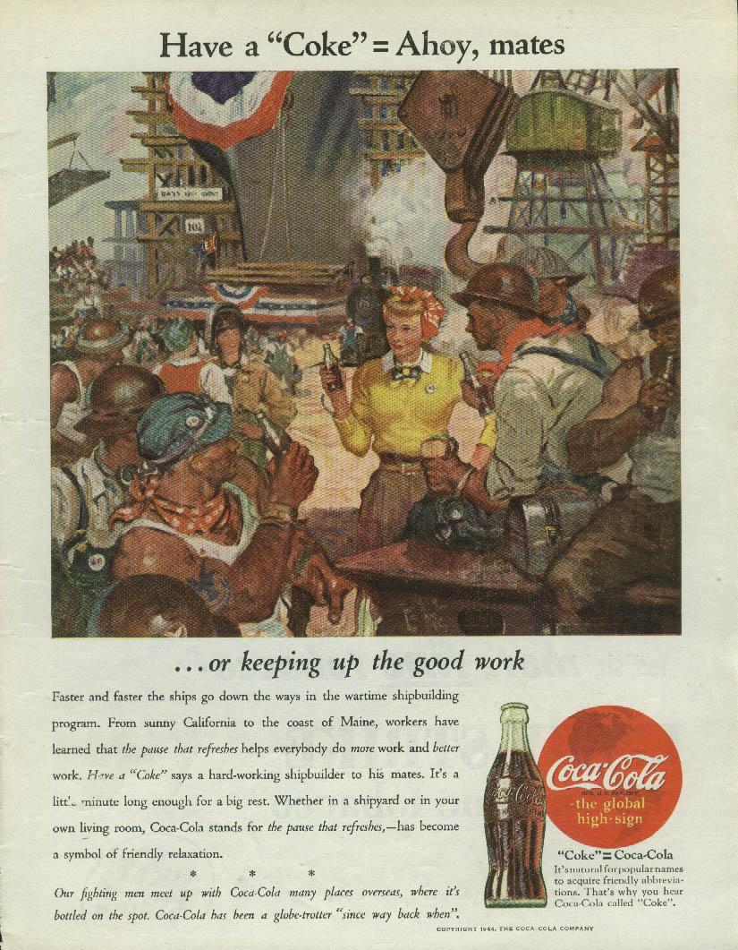 Have a Coca-Cola = Ahoy, mates shipbuilders ad 1944 Time