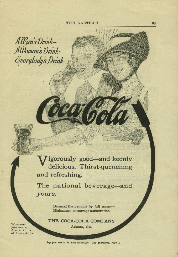 A Man's Drink A Woman's Drink Everybody's Drink Coca-Cola ad 1914