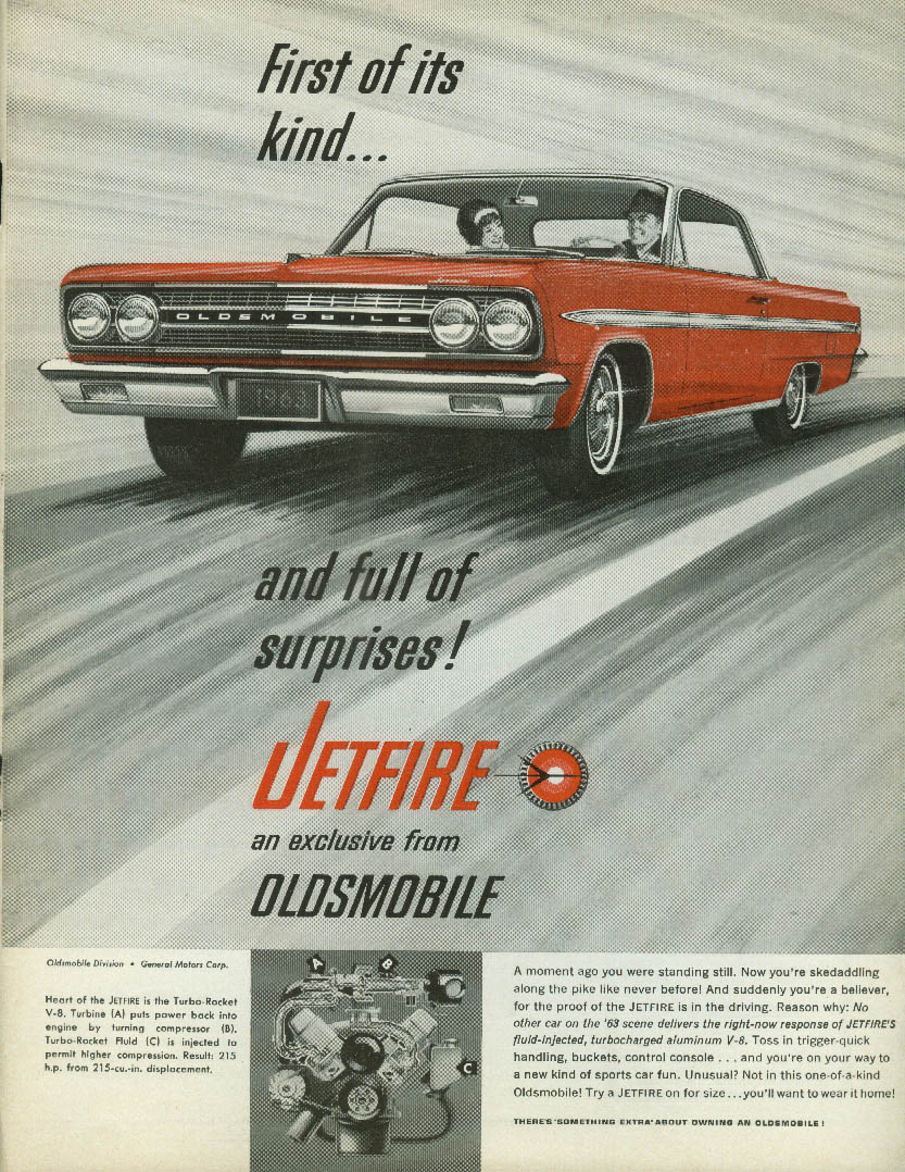 1st of its kind & fuil of surprises Oldsmobile Jetfire Turbo ad 1961
