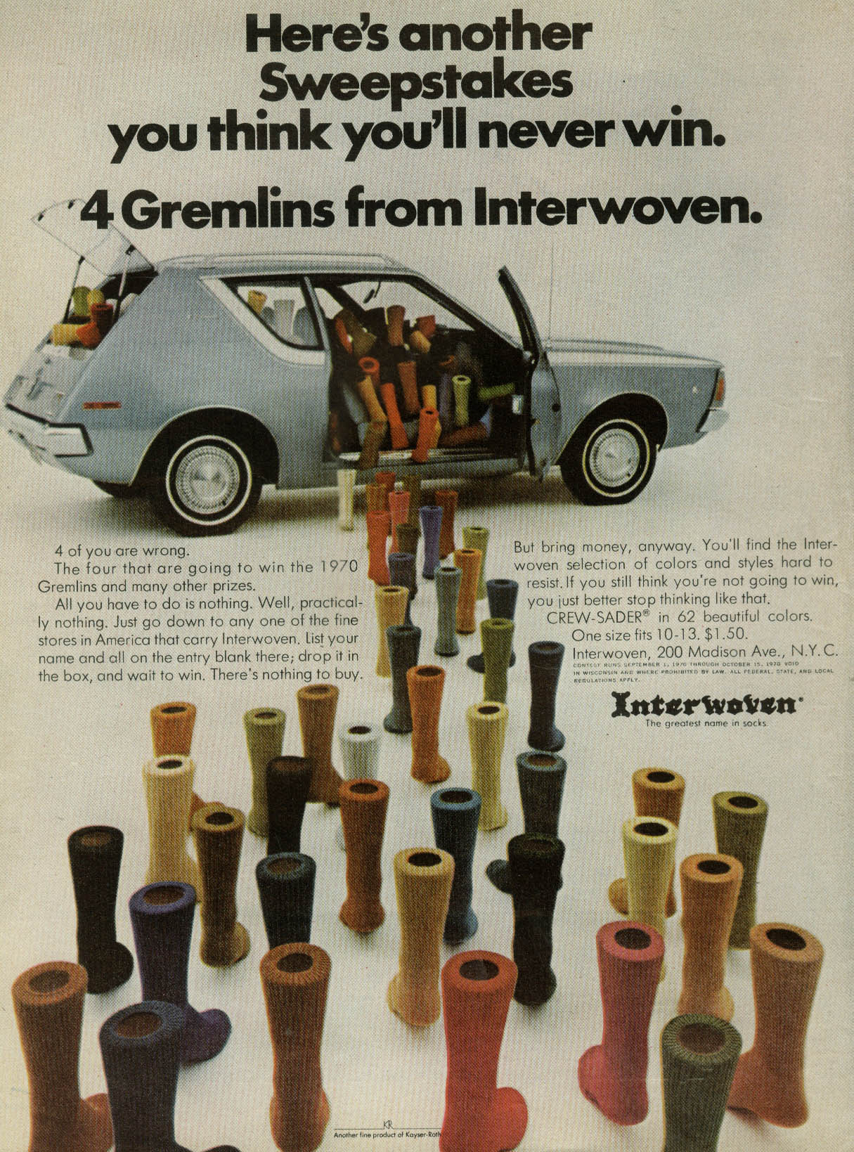 Image for Here's another sweepstakes 4 AMC Gremlins fron Interwoven Socks ad 1970