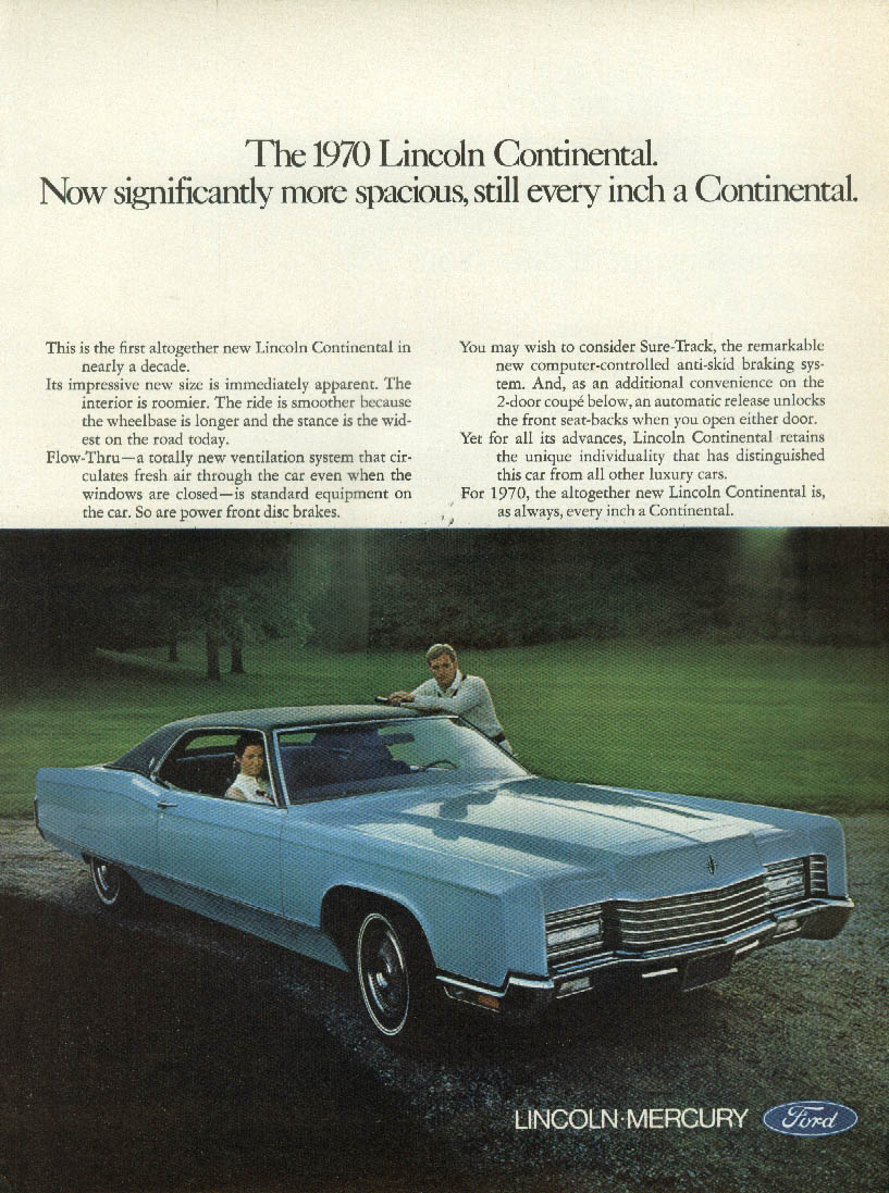 Significantly more spcaious still every inch a Lincoln Continental ad 1970 BW