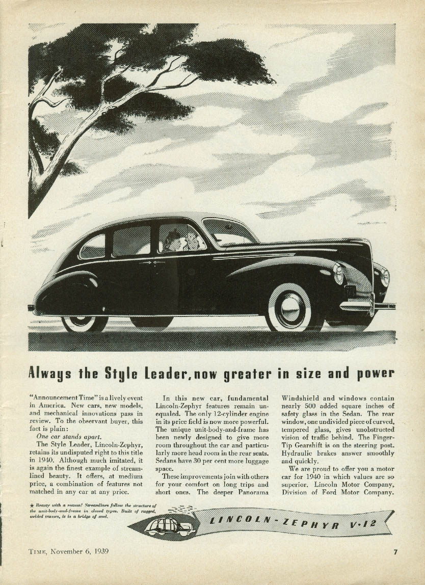 Always the Style Leader now greater size & power Lincoln-Zephyr V-12 ad 1940 T