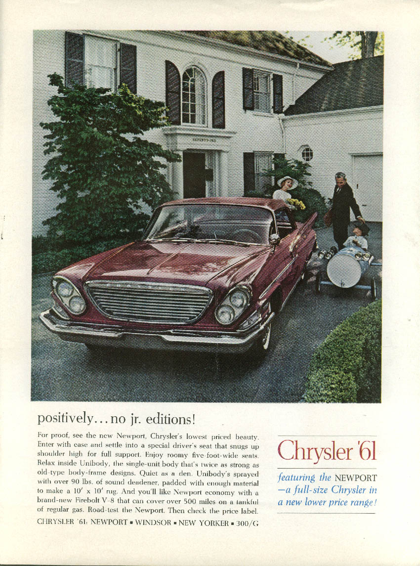 Positively no Jr Editions Chrysler Newport 4-door HT ad 1961 NY