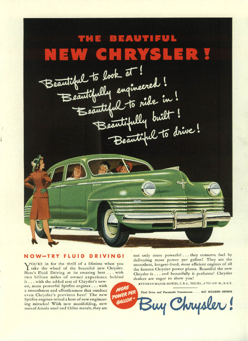 Beautiful to look at! Engineered! To Ride in! Chrysler New Yorker ad 1942 NY