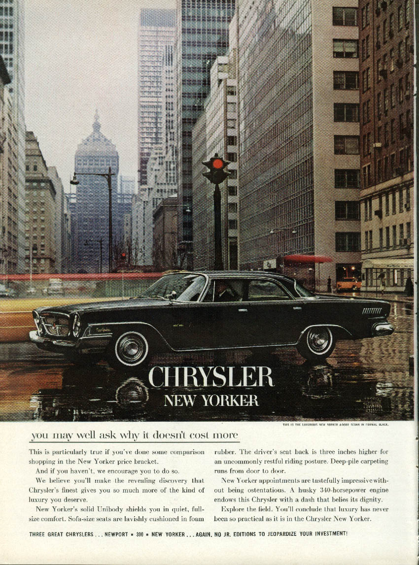 You may well ask why it doesn't cost more Chrysler New Yorker 4-dr Sedan ad 1962
