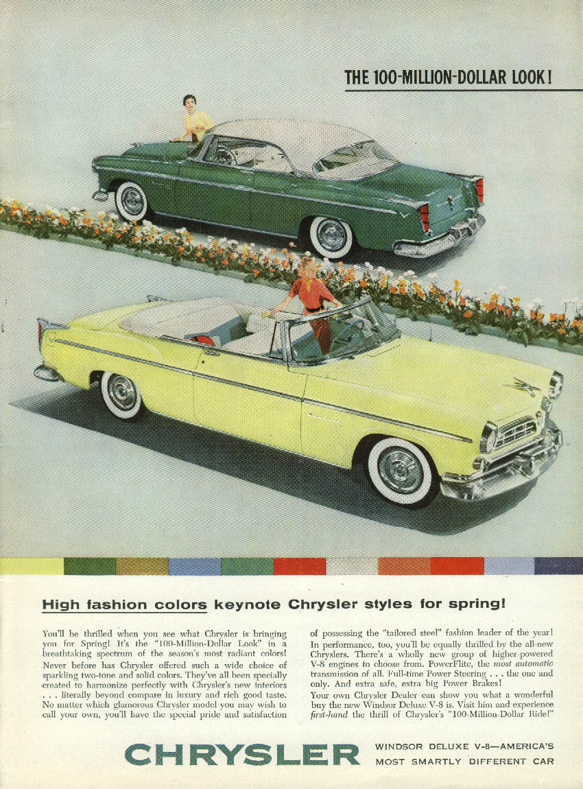 High fasion colors keynote Chrysler Windsor 4dr HT & Convertible ad 1955 NY