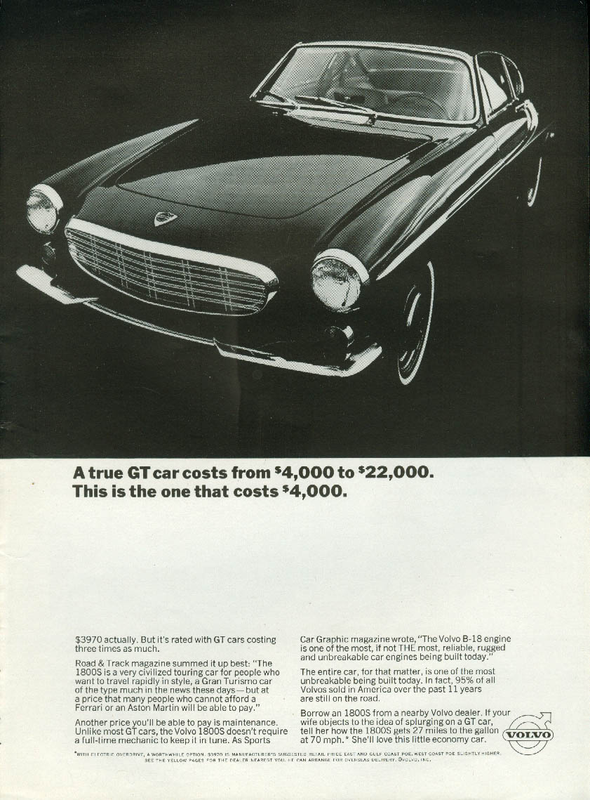 A true GT car costs $4000 to $22000 This one costs $4000 Volvo 1800S ad 1967 NY