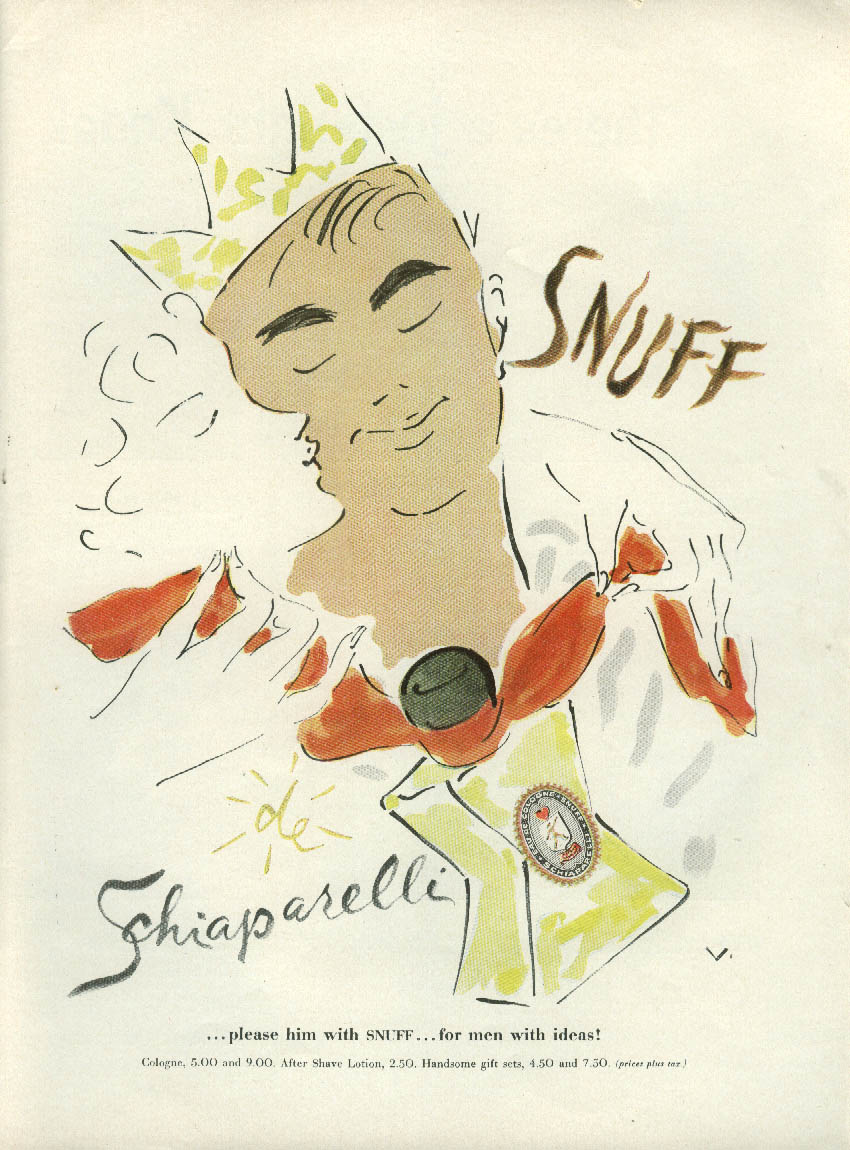 Please him with Snuff by Schiaparelli for men with ideas ad 1954 by Vertes