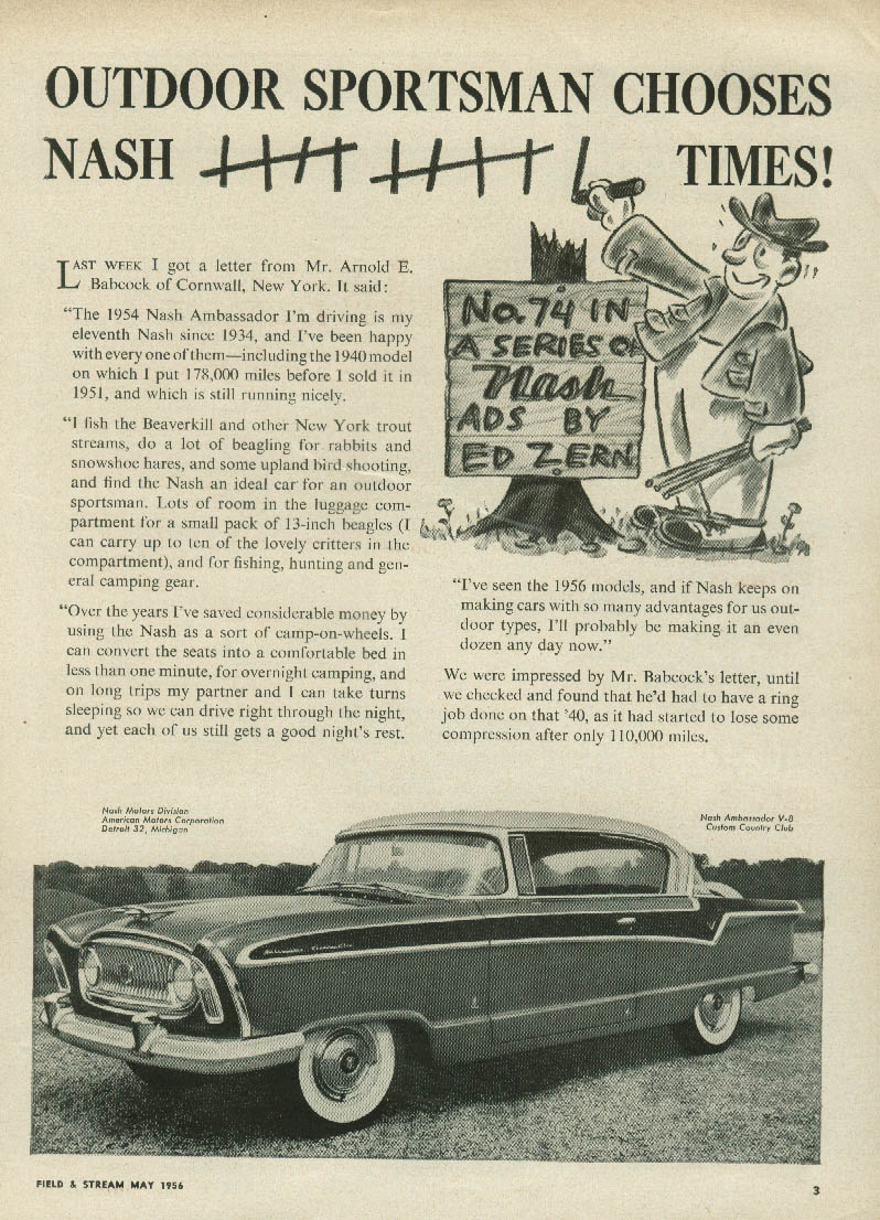 Outdoor sportsman chooses Nash 9 times Ambassador Country Club ad 1956