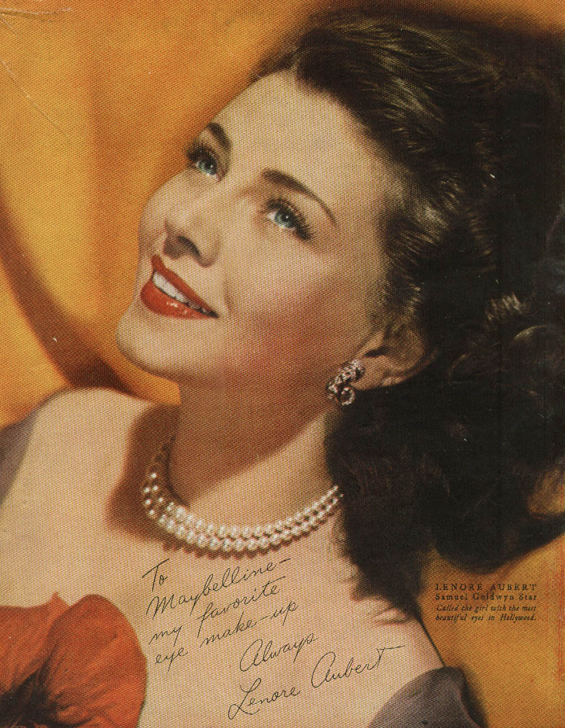 Actress Lenore Aubert for Maybelline Makeup ad 1944