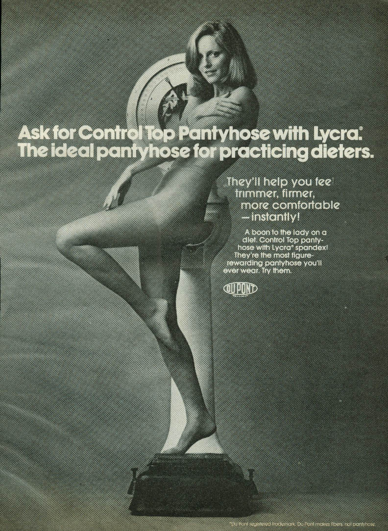 Ideal for practicing dieters Control Top Pantyhose with Lycra ad 1974