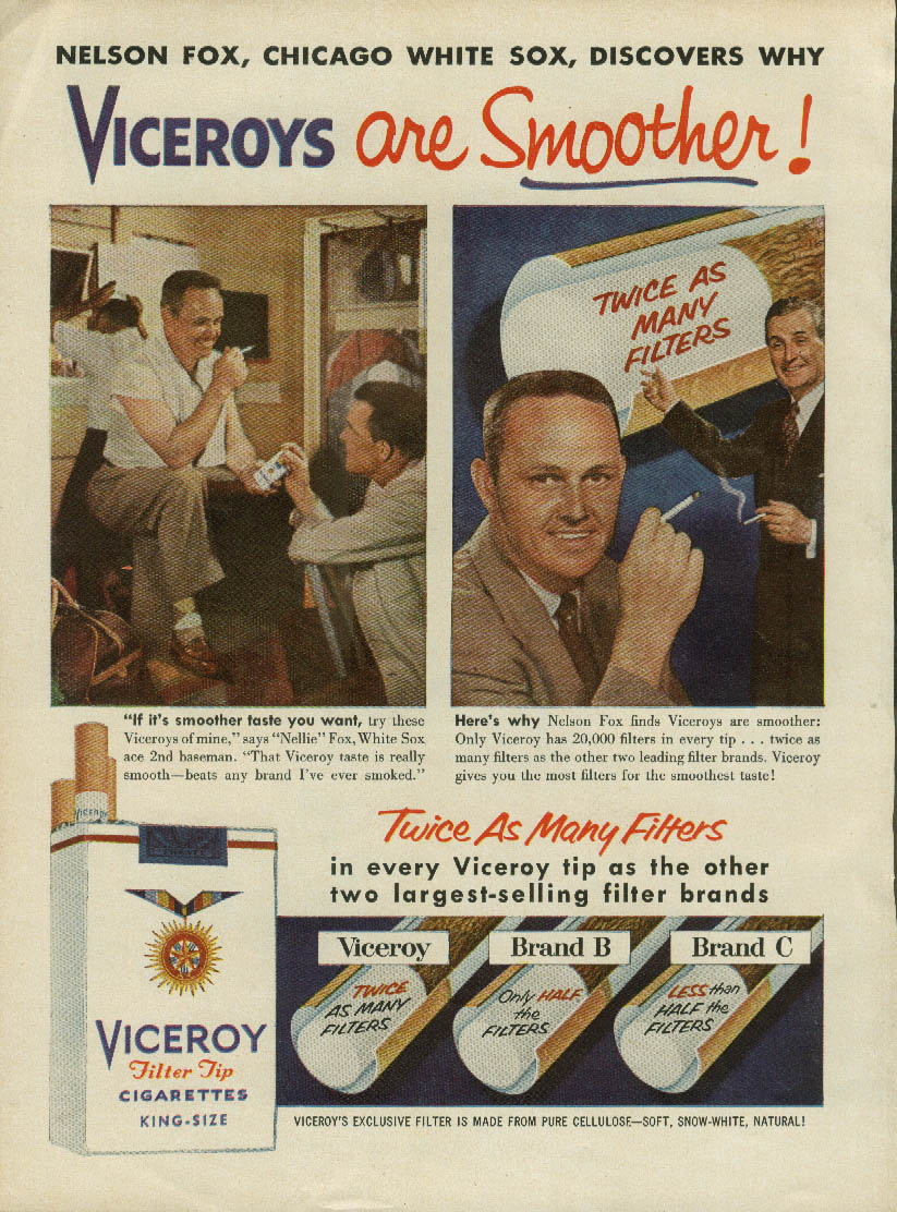 Chicago White Sox Nelson Fox for Viceroy Cigarettes ad 1956