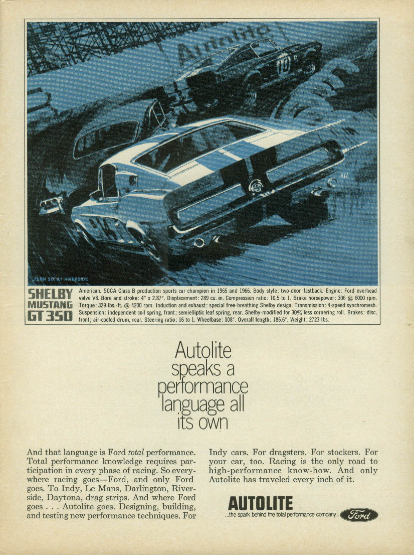 Shelby Mustang GT 350 for Autolite High Performance ad 1967 R&T