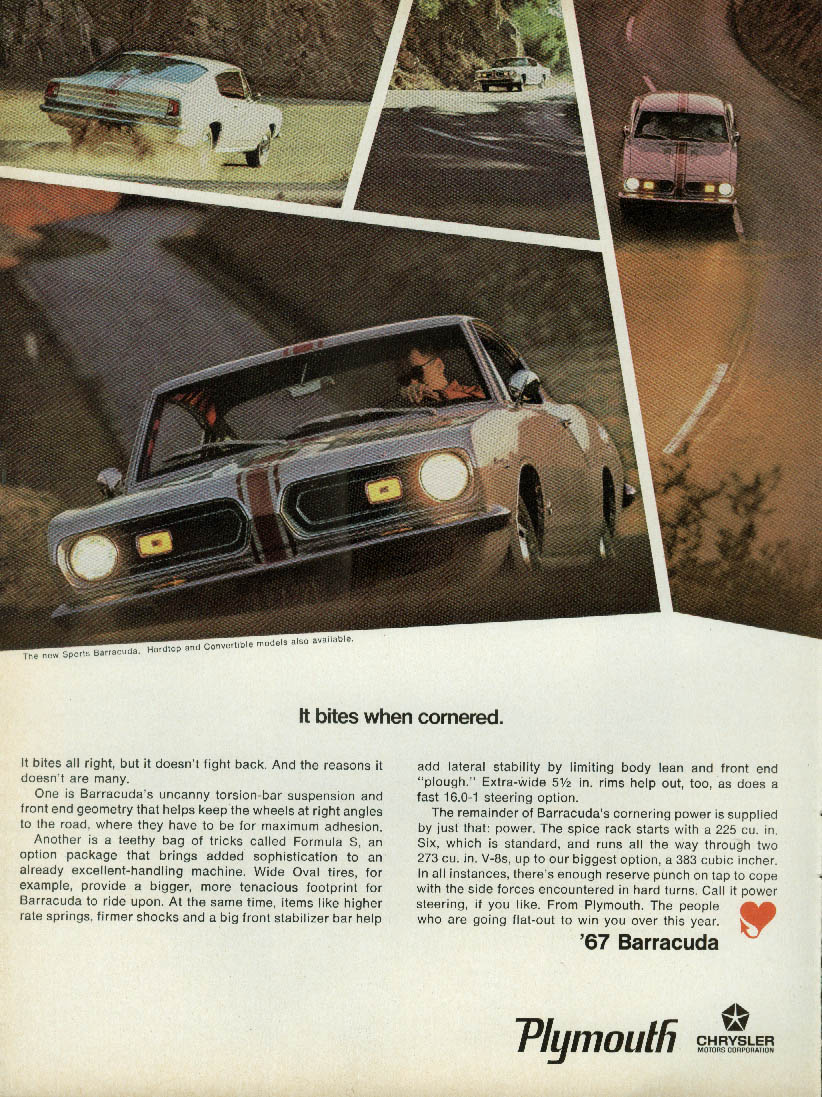 It bites when cornered Plymouth Barracuda ad 1967 R&T