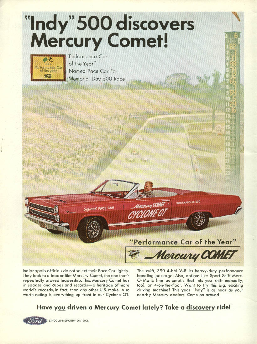 Indy 500 discovers Mercury Comet Official Pace Car ad 1966 R&T