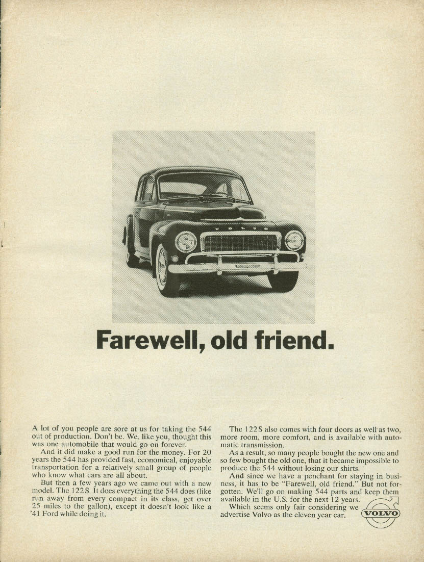 Farewell, old friend - Volvo 544 finale ad 1966