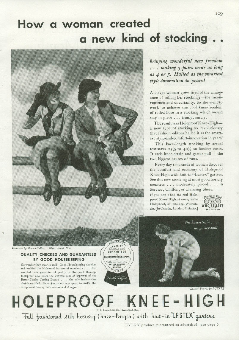 How a woman created a new kind of stocking Holeproof Knee-High ad 1936