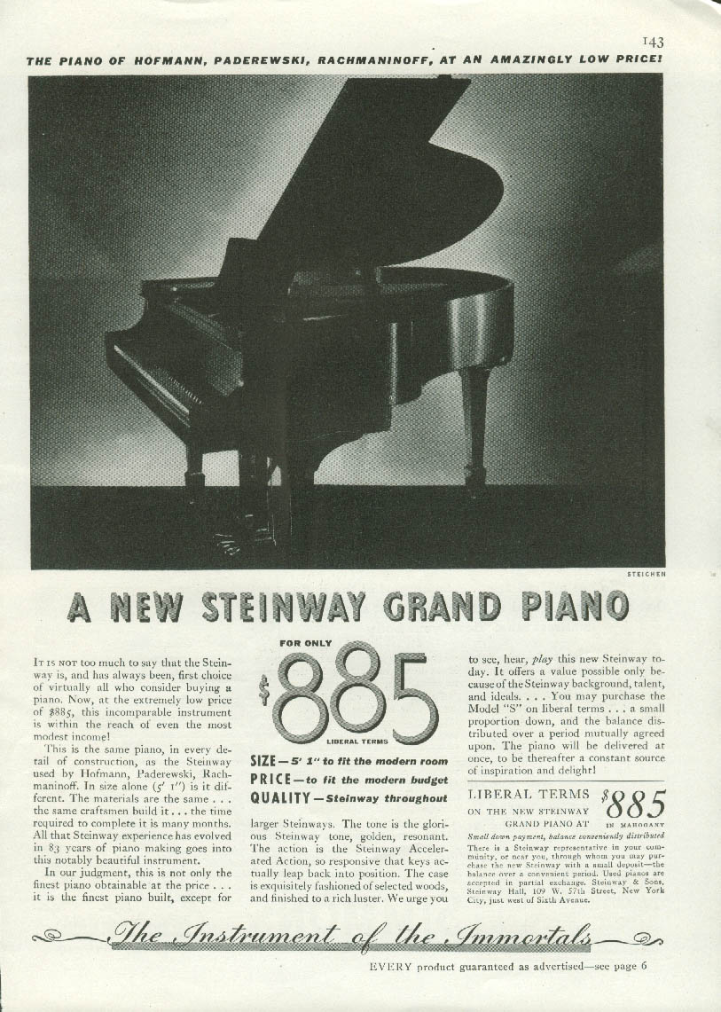 A new Steinway Grand Piano for only $885 ad 1936 Edward Steichen photo GH