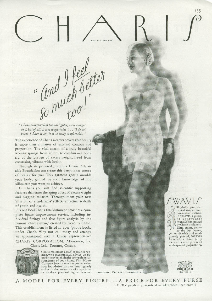 And I feel so much better too! Charis Swavis Girdle ad 1936